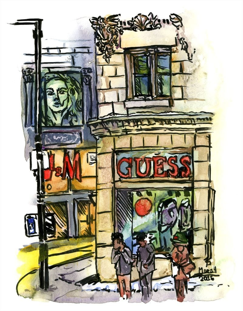 guess downtown montreal watercolour drawing