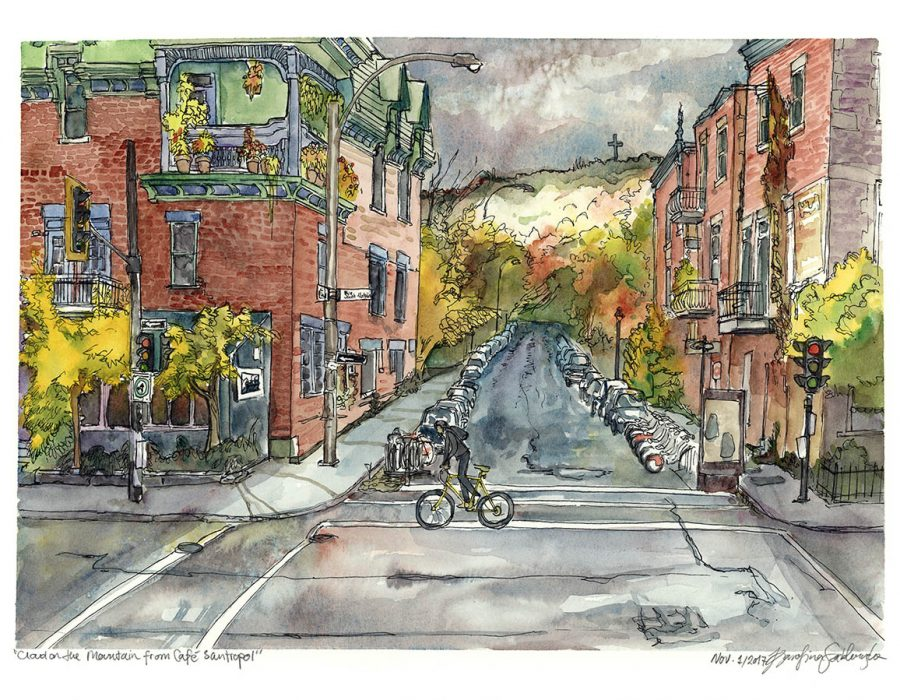 cloudy rainy day cafe santropol montreal watercolour painting