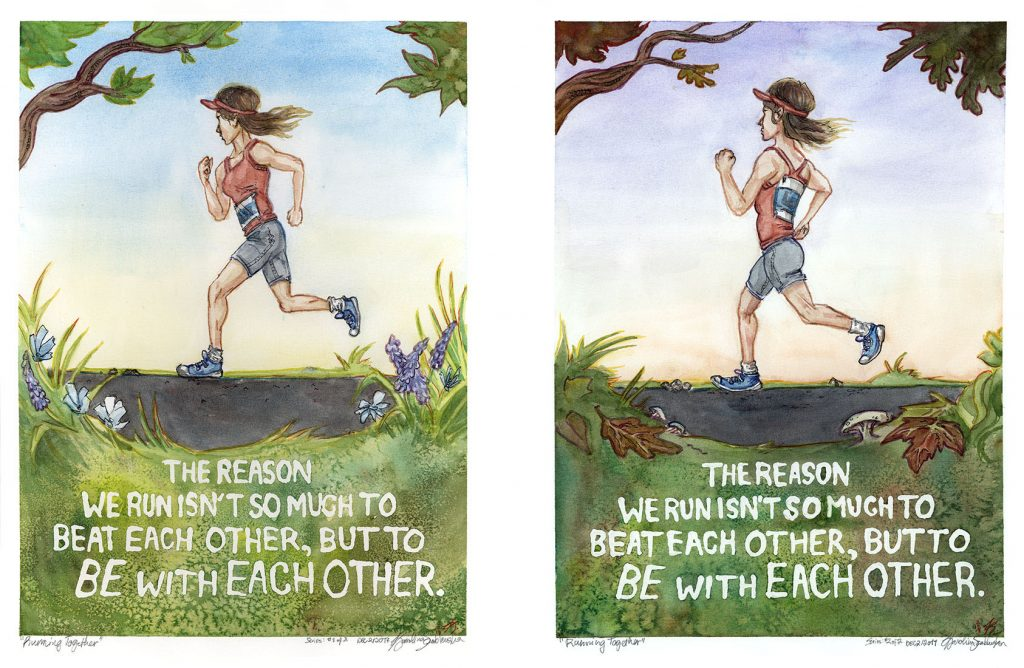 running together two paintings watercolour