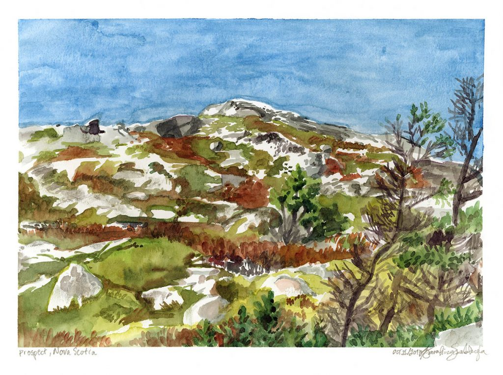 peggy's cove nova scotia watercolor painting by karolina szablewska en plein air painting