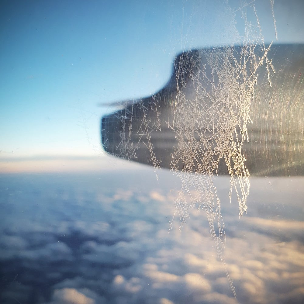 ice on airplane window