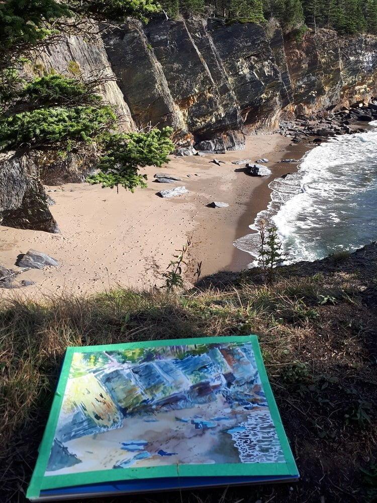 hirtle's beach watercolor painting by karolina szablewska en plein air painting