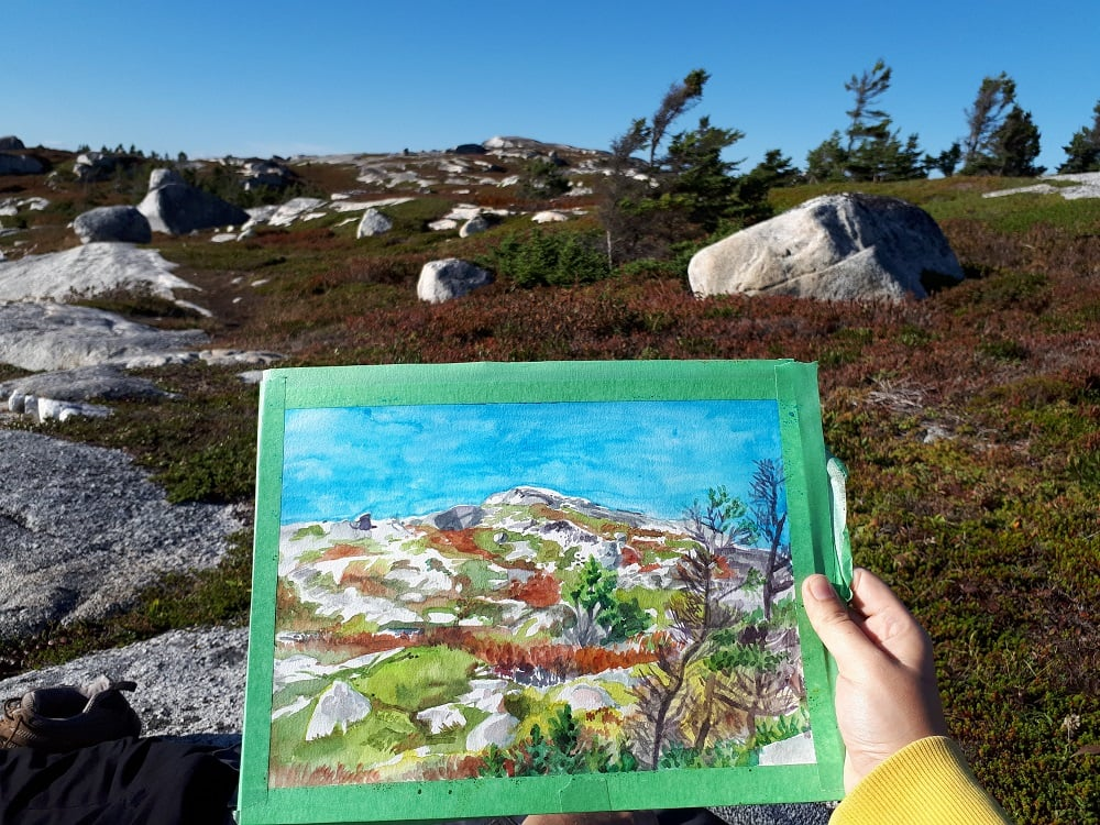 peggy's cove nova scotia landscape en plein air of rock terrain