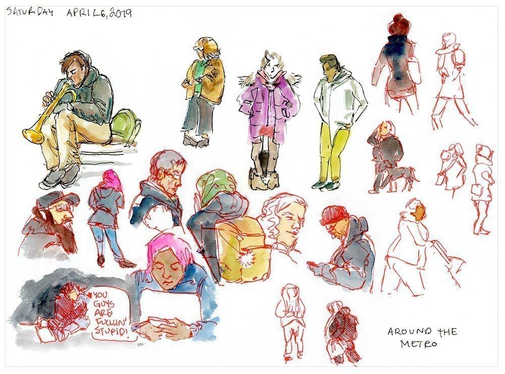one week 100 people art challenge day 1 sketching people