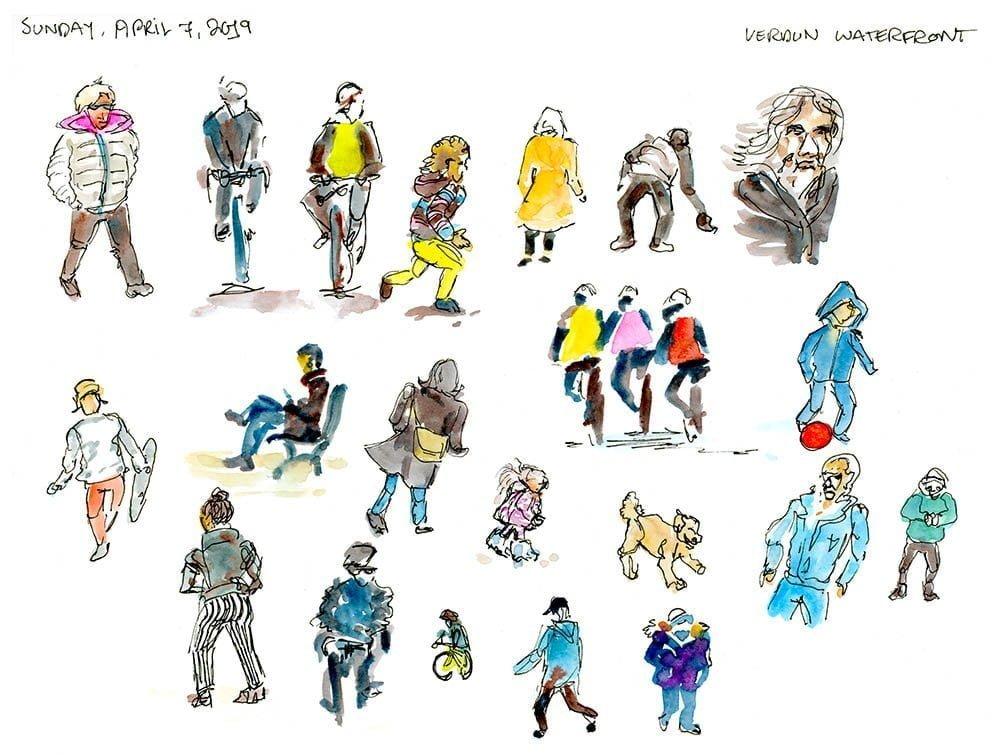 one week 100 people day 2 sketching people outdoors