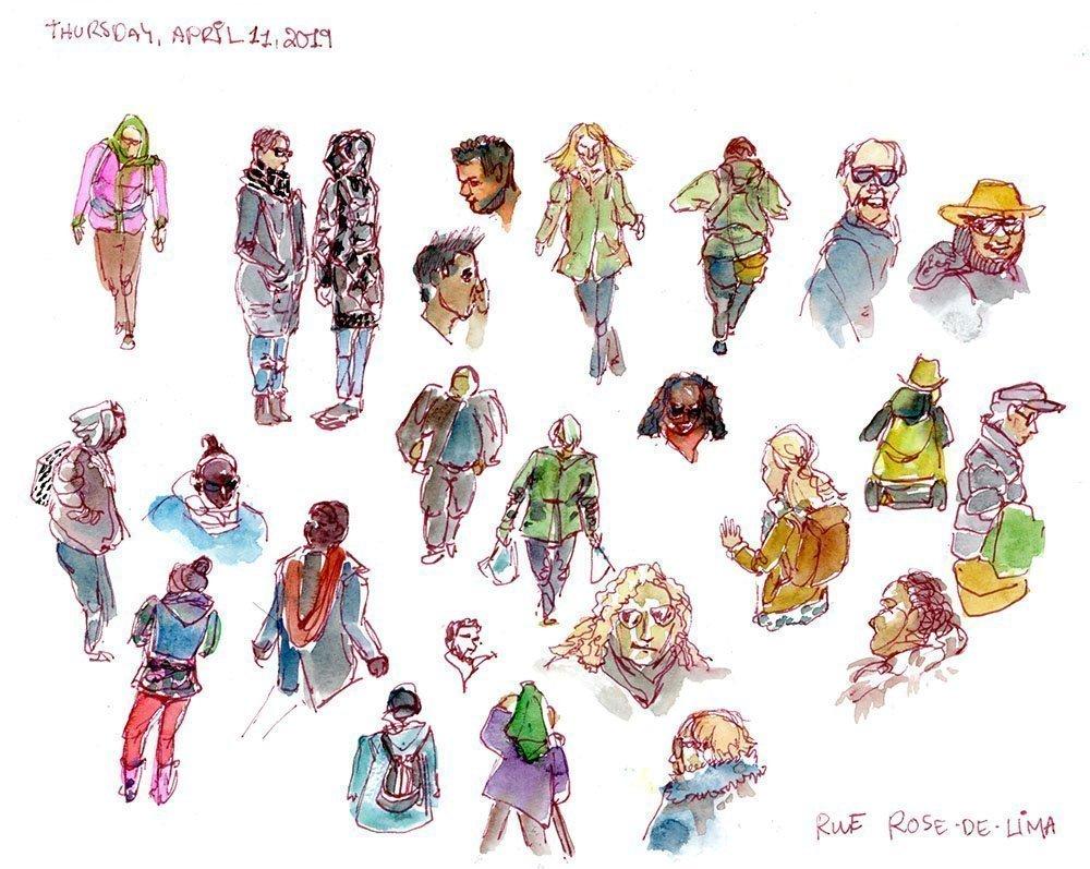 watercolor sketches of people rose-de-lima saint-henri