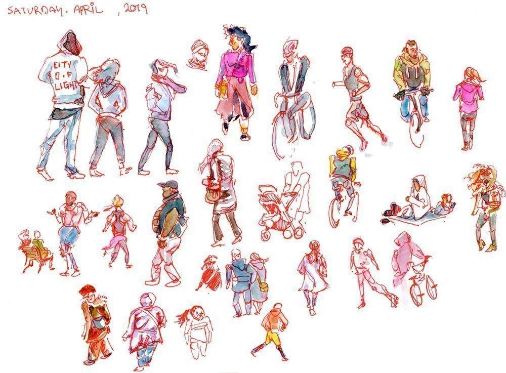 sketching people on verdun waterfront