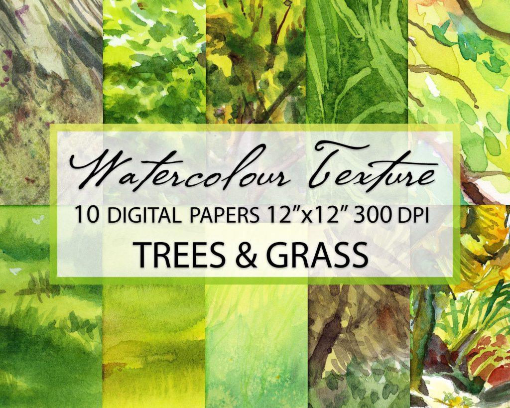 trees and grass watercolor digital papers, watercolor texture