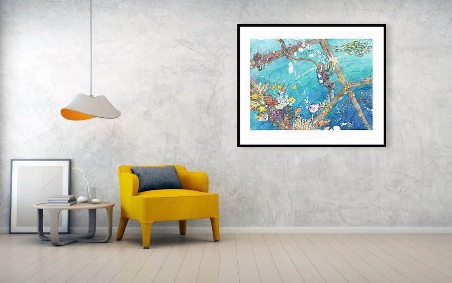 underwater seascape ocean extra large art print framed by karolina szablewska fine art america
